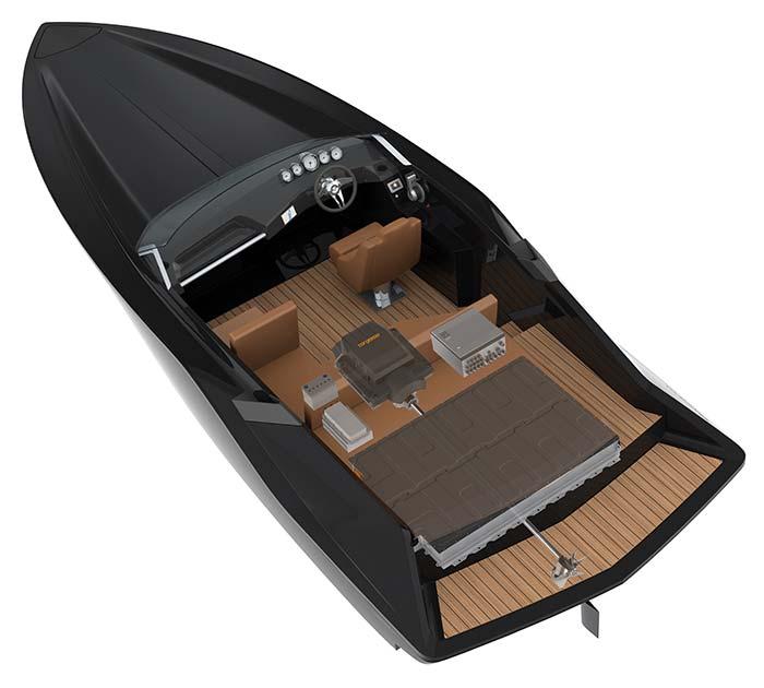 barca equipaggiata con motore elettrico